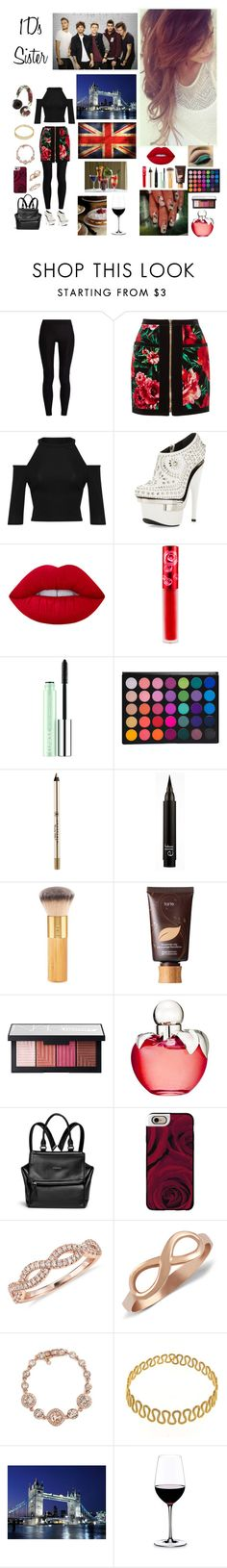 """1D's Sister"" by hetalia2013 ❤ liked on Polyvore featuring The Upside, Balmain, WearAll, Versace, Lime Crime, Clinique, Anastasia Beverly Hills, tarte, NARS Cosmetics and Nina Ricci"