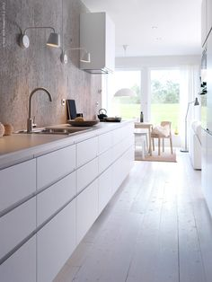 New Kitchen Ikea Voxtorp Cabinets Ideas Kitchen Ikea, White Kitchen Cabinets, Kitchen Interior, New Kitchen, Kitchen Dining, Kitchen Decor, Kitchen White, Kitchen Walls, Narrow Kitchen
