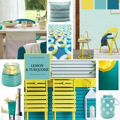 Moodboard lemon & turquoise