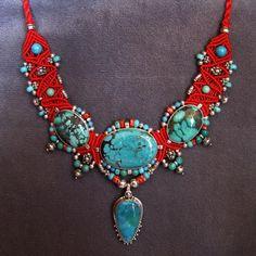 Isha Elafi Large Choker with Pendant Macrame Necklace, Macrame Jewelry, Ethnic Jewelry, Boho Jewelry, Jewellery, Tatting Jewelry, Bead Embroidery Jewelry, Beaded Embroidery, Textiles