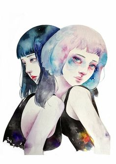 "Lovely watercolor painting, ""Friends"" by Kazel Lim"