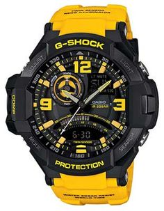 5c97329965e Casio G-Shock GRAVITYMASTER Aviator Watch - Black   Yellow - Anti-Magnetic