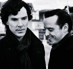 "Benedict Cumberbatch and Andrew Scott on the set of ""Sherlock"""