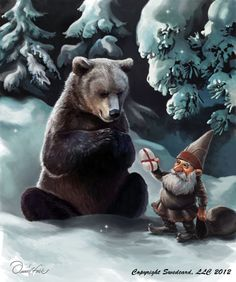 Bear with Garden Gnome Greeting Card.