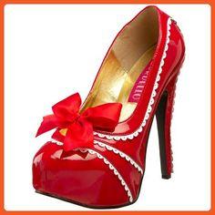 2ec482a3 Bordello By Pleaser Women's Teeze-14 Platform Pump,Red/White Patent,9