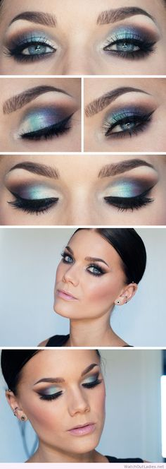 Linda Hallberg blue eye makeup and light pink lipstick