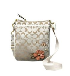 "Coach Floral Applique Signature C Swingpack Crossbody Bag Handbag Style 47212 Measures Approx 7 1/2"" L x 8 1/2"" H x 1 1/2 W Click Pic for More Info"