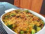 Broccoli Casserole from Alton Brown - with ramen noodles of all things. It's deeelicious. I have used ranch drsg if I don't have blue cheese (but prefer the blue cheese)  and sour cream if I don't have yogurt on hand. And have left out mushrooms.  I have also used frozen broccoli (defrosted/slightly cooked) if I don't feel like preparing fresh.