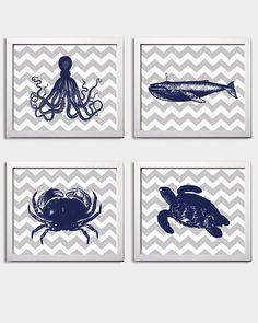 Chevron Nautical Nursery Navy Grey boy Beach Ocean Sea more colors available set of 4 each 11x14 via Etsy