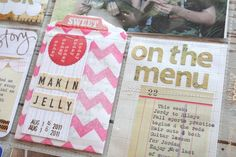 * I like her combination of stapled and sewn snippets *  Mish Mash: Project Life....Week in Review Inserts
