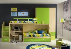 Furniture,Very Popular Single Bunk Bed Built In Laptop Office Desk With Storage Also Green Painting Cabinet And Elegant Black Painted Wall For Modern Boys Bedroom Ideas,Awesome Small Room Storage Ideas With Many Closet Design
