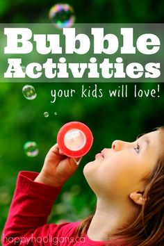 Bubble Activities that will blow your kids away!  Homemade, giant bubbles, frozen bubbles, bubbles you can hold and bounce, bubble experiments and sensory play and quick and easy homemade bubble blowers too! - Happy Hooligans