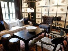 Traditional Living Room With Cherry Bookshelves : Designers' Portfolio : HGTV - Home & Garden Television