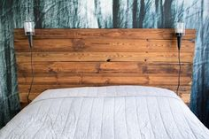 Diy Wooden Headboard With Lights Diy Bed Headboard, Headboard With Lights, Diy Bed Frame, Bed Lights, Headboards For Beds, Bookcase Headboard, Headboard Ideas, Simple Bed, Luxury Bedding Sets