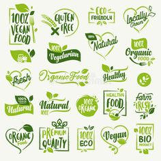 Organic food, farm fresh and natural product labels and badges collection for food market, ecommerce, organic products promotion, healthy life and premium quality food and drink. - Healthy Life Style Tips Organic Food Market, Farm Logo, Food Stickers, Drinks Logo, Food Illustrations, Organic Recipes, Biodegradable Products, Packaging Design, Healthy Life