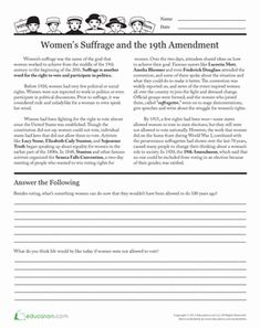 Political/Voting/Civic Holidays & Occasions Women's History Month Fifth Grade History Worksheets: Suffrage