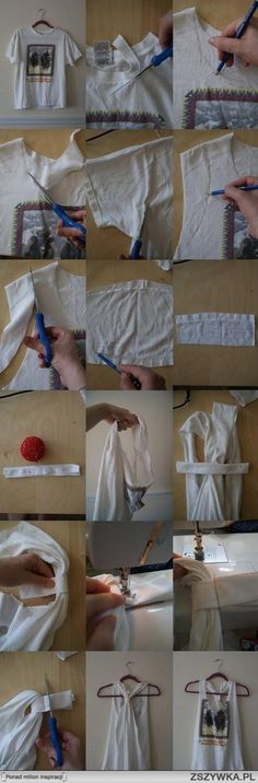 Great way to use old tee shirts! I can use a few like these for running in the summer, over a sports bra!