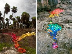 WASHED UP.  What do you think about this photo series by Alejandro Duran? He uses plastic that has washed up on the shores of protected areas of Mexico. So far he's identified trash from 42 different countries. Yikes!