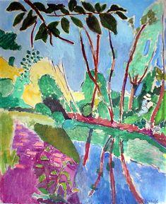 The Waterfront 1907 By Henri Matisse - Oil Paintings & Art Reproductions - Reproduction Gallery Henri Matisse, Matisse Kunst, Matisse Art, Plant Painting, Garden Painting, Landscape Art, Landscape Paintings, Landscapes, Matisse Pinturas