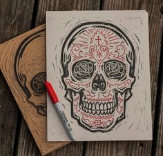 Carved and printed by handcraft process, meet The Sugar Skull by Derrick Castle