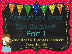 This room decor will transport your kiddos to the land of Oz.  It is very colorful and fun.  This pack includes:-Desk plates-Welcome banner-Table numbers-Word wall headers-Calendar numbers-Days of the week-Months of the year-Student number cards-Inspirational posters-Number posters to 20