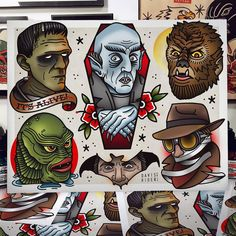 flash sheet featuring classic horror & monster icons, on stipple watercolor paper. Shipped in poster tube.