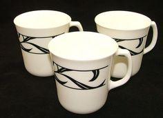Vintage CORNING USA Coffee Mug M'WAVE OK  White w/ Black Decorations SET of 3 #CORNING