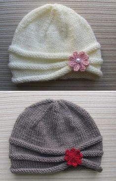 Kız Bebek Şapkaları Modelleri 88 - Mimuu.com Baby Boy Knitting Patterns Free, Baby Hat Patterns, Baby Hats Knitting, Knitting For Kids, Free Knitting, Crochet Patterns, Knitted Hats Kids, Knit Or Crochet, Barn