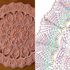 Crochet Mandala Pattern, Crochet Circles, Crochet Diagram, Crochet Stitches Patterns, Filet Crochet, Crochet Tablecloth, Crochet Doilies, Crochet Flowers, Doily Rug