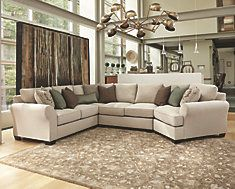 Linen Wilcot Sofa Sectional With Cuddler View 1