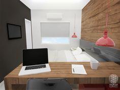 Quarto com Home Office | Andressa Cobucci Estúdio. Uma bancada de trabalho em madeira de demolição deixa o espaço muito charmoso! É preciso ter cuidado e buscar a textura adequada quando o trabalho do usuário exige que a mesa seja totalmente lisa.
