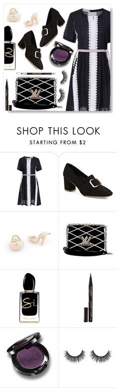 """Black and white"" by simona-altobelli ❤ liked on Polyvore featuring Louis Vuitton, Giorgio Armani, Smith & Cult and The Body Shop"