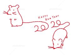 New Year Card Design, Chinese New Year Design, Chinese New Year 2020, Maus Illustration, New Year Symbols, New Year Pictures, Simple Line Drawings, Happy New Year Cards, Rats