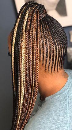 Black Hair Updo Hairstyles, Feed In Braids Hairstyles, Box Braids Hairstyles For Black Women, Short Black Hairstyles, Girl Hairstyles, Small Feed In Braids, Small Box Braids, Chunky Box Braids, Braids Ideas