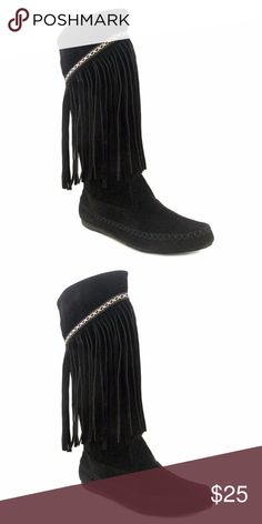 Women's Ryland Tall Fringe Boot, black Oliver Miller Women's Ryland Tall Fringe Boot - Black, Size 6 Oliver Miller Shoes Ankle Boots & Booties