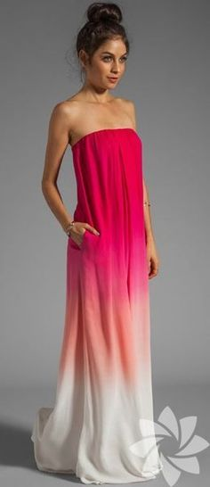 Strapless Pink Maxi ombre