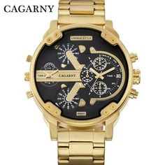 Cagarny Dual Display Luxury Watch Men Sport Quartz Clock Mens Watches Gold Steel Watch Relogio Masculino Dropshipping New Quartz Watches from Watches on AliExpress Army Watches, Cool Watches, Male Watches, Cheap Watches, Wrist Watches, Men's Accessories, Skeleton Watches, Moda Casual, Luxury Watches For Men