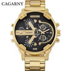 01f805a5990 CAGARNY Relógio Moda masculino de Luxo Ouro Pulseira de Aço