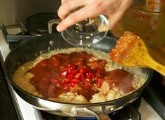 Tomato sauce being added to peanut butter, sauteed onions and vegetable broth for Zimbabwe Dovi (Peanut Stew) Zimbabwe Food, Zimbabwe Recipes, South African Recipes, Africa Recipes, Ethnic Recipes, Good Food, Yummy Food, Cooking Together, Saute Onions