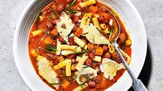 This Italian-inspired borlotti bean and pasta stew recipe is made with smoked pancetta to add another layer of flavour. Buy ingredients at Sainsbury's Veggie Chili, Pasta E Fagioli, Vegetarian Main Dishes, Bean Stew, One Pot Pasta, Cooking Recipes, Healthy Recipes, Fabulous Foods, International Recipes