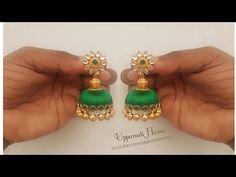 How Make Beautiful Silk Thread Earrings With Bell Beads Silk Thread Earrings Designs, Silk Thread Bangles Design, Silk Bangles, Thread Jewellery, Tatting Jewelry, Beaded Jewelry, Silk Thread Jumkas, Hand Jewelry, Diy Jewelry