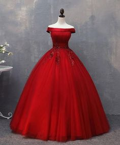 Red Tulle Off Shoulder Floor Length Formal Prom Dress Prom Gown from Sweetheart Dress Burgundy Formal Dress, Burgundy Evening Dress, Winter Formal Dresses, Dress Formal, Formal Evening Dresses, Evening Gowns, Long Prom Gowns, Homecoming Dresses, Dress Prom