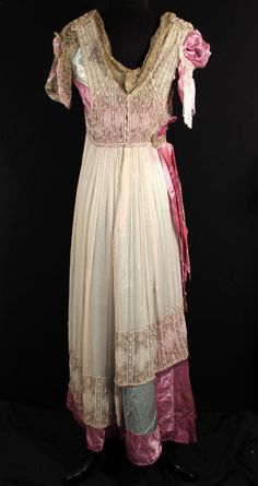 Edwardian era gown (back) of rose and blue silk satin with cream silk chiffon overlay, metallic lace netting, and beading #Belle_Epoque #Edwardian