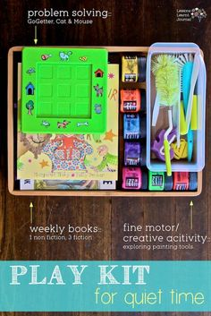 Easy way to quietly work on reading, fine motor skills and problem solving skills with kids. Play kit for quiet time - with books, cat and mouse gogetter, and exploring painting tools. Great for some down time (or church). Quiet Time Activities, Craft Activities For Kids, Preschool Activities, Educational Activities, Craft Ideas, Diy For Kids, Crafts For Kids, Kids Fun, Activity Bags