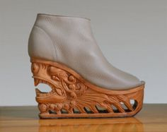 Wing Hand Carved Wood Platform Wedge Heel by Fashion4Freedom