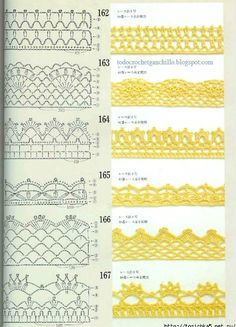 Emy's Gallery: Crochet Edges Pattern- i might embroider or bead these designs.Crochet edging patterns for a afghan, blanket, scarf, pillowcase.I need to devote some time to learning/mastering crochet - these are really prettyCrochet Patterns Book Mot Crochet Boarders, Crochet Edging Patterns, Crochet Lace Edging, Crochet Diagram, Crochet Chart, Thread Crochet, Crochet Trim, Crochet Designs, Crochet Doilies