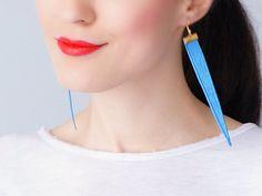 Toppo Blue Earrings Statement Earrings Lace Earrings Dangle Earrings Long Earrings Triangle Earrings Fashion Earrings For Her