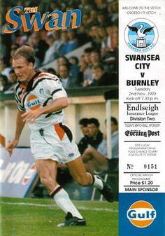 Swansea City 3 Burnley 1 in Nov 1993 at the Vetch Field Ground. The programme cover #Div2