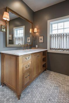 Limed oak cabinet. Bathroom with limed oak cabinets and octagon floor tile. #Limedoak #limedoakcabinet #limedoakwood…