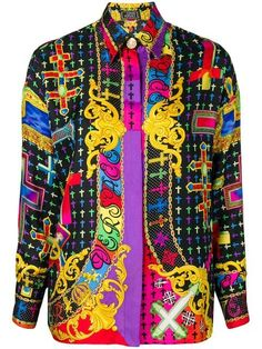 a88b47f2f73dd Shop Versace Vintage cross print shirt